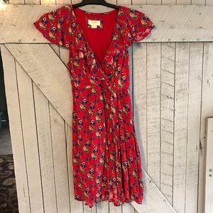Anthropologie Maeve Red Flutter Floral Dress